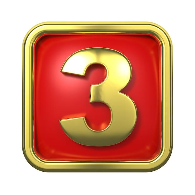 赤い背景の上のフレームの金の数字。ナンバー3 Premium写真