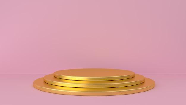 Gold pedestal and pink background. Premium Photo