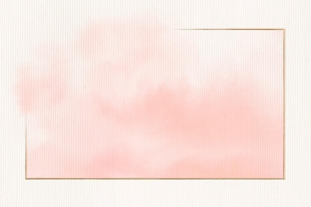 ピンクの水彩画の金の長方形のフレーム 無料写真