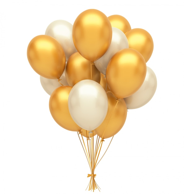 Gold and silver balloons Premium Photo