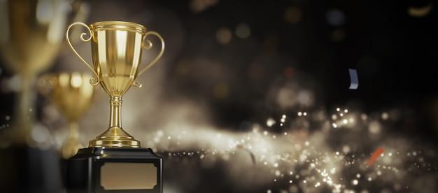 Gold trophy award on dark background. Premium Photo
