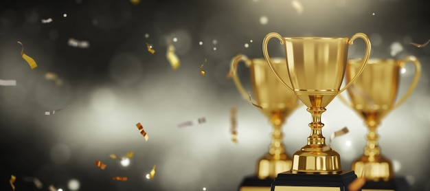 Gold trophy award on dark background. Premium Photo
