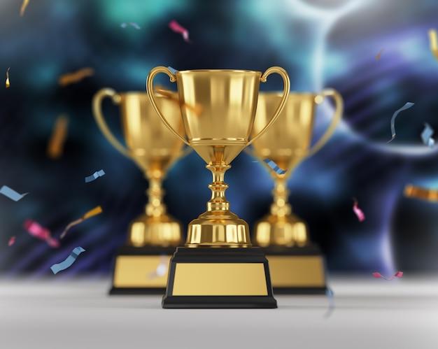 Gold trophy award on dark blue background. Premium Photo