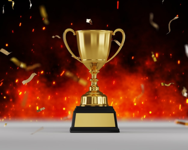 Gold trophy award on fire background. Premium Photo