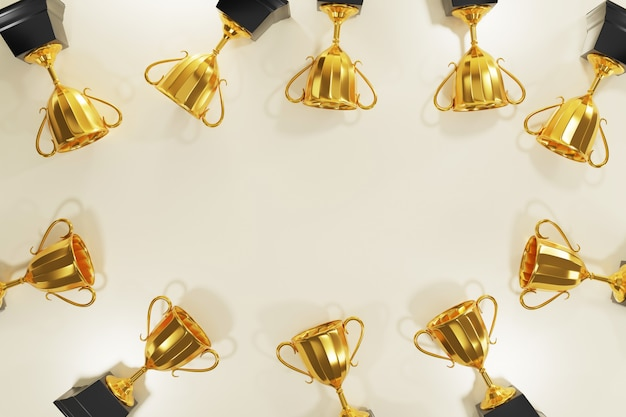 Gold trophy award with copy space, 3d rendering. Premium Photo