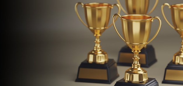 Gold trophy award with copy space. Premium Photo