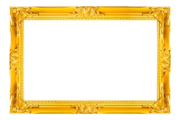 Gold vintage picture and photo frame isolated on white background. Premium Photo