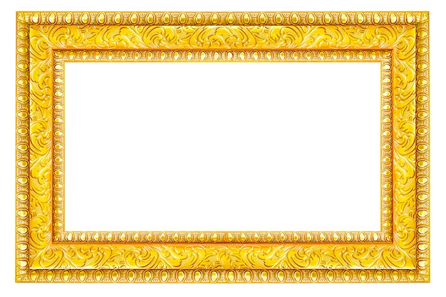 Gold vintage picture and photo frame isolated on white background Premium Photo
