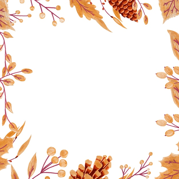 Golden autumn leaves and berries Premium Photo