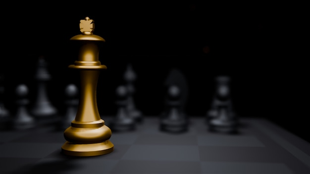 Golden bishop chess board game and, strategy ideas concept business background Premium Photo