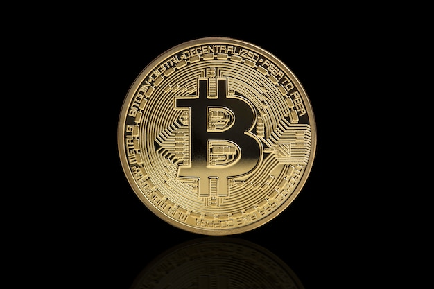 Golden bitcoin coin Premium Photo