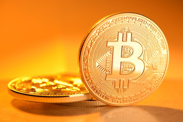 Golden bitcoin coin Premium Photo