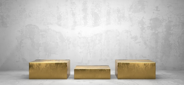 광고 제품 디스플레이 배경 3d 렌더링을위한 황금 상자 연단 플랫폼 프리미엄 사진