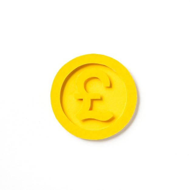 Golden british pound coin graphic Free Photo