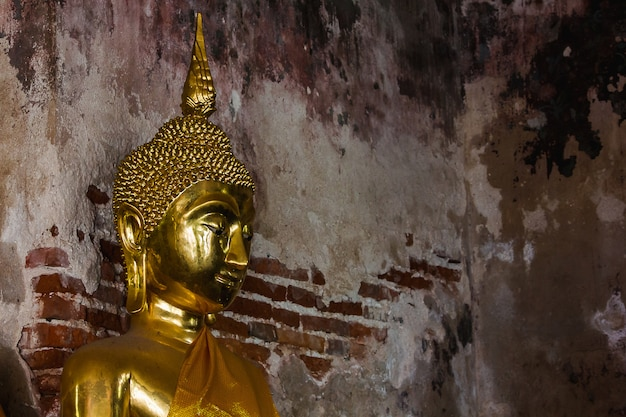 Golden buddha beside old walls in thai temples Premium Photo