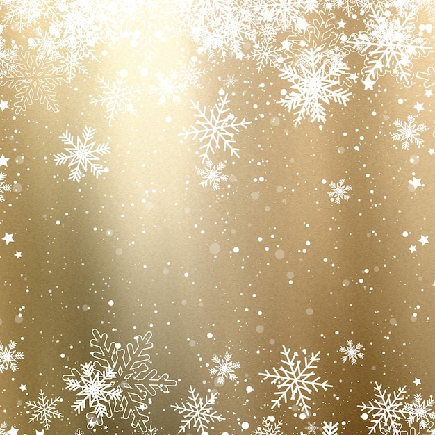 Golden christmas background with snowflakes Free Photo