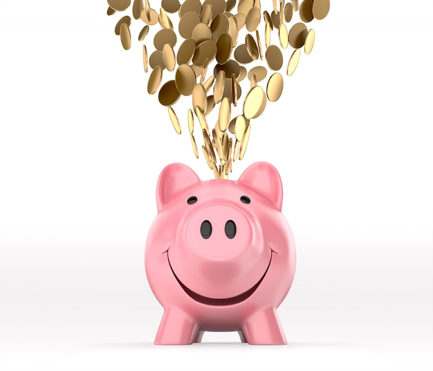 Golden coins falling into piggy bank, front view. 3d rendering Premium Photo