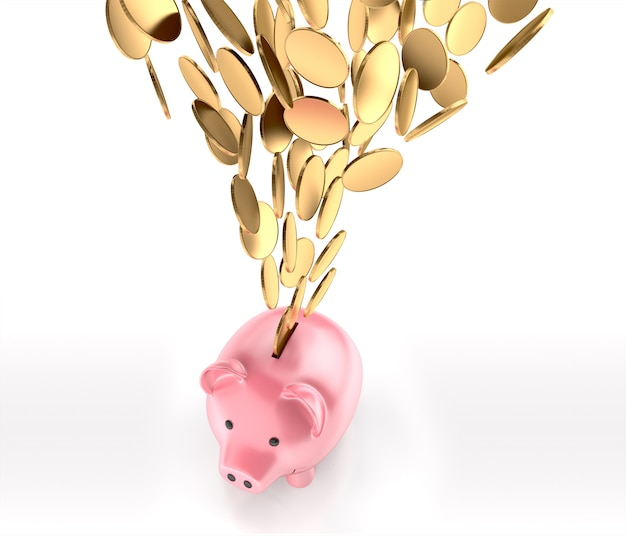Golden coins falling into piggy bank, top view. 3d rendering Premium Photo