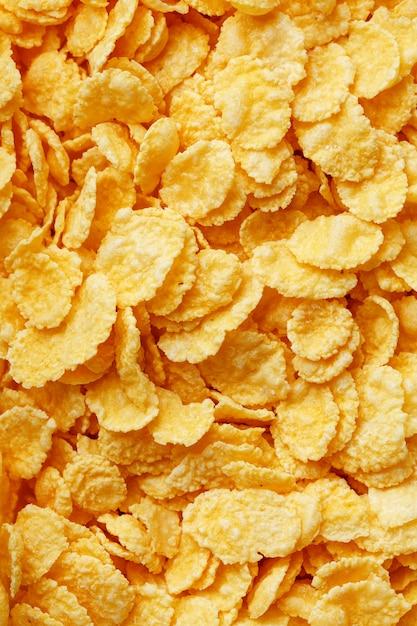 Golden cornflakes, top view, healthy breakfast Premium Photo