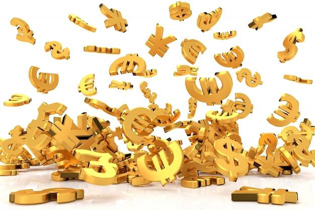 Golden currency symbols  3d rendering  Photo | Premium Download