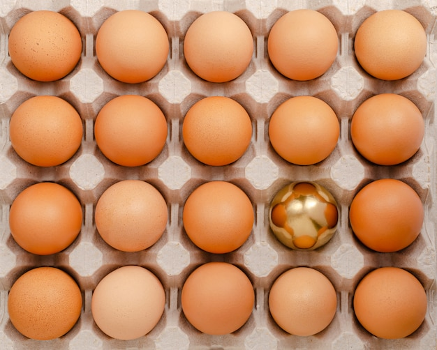 Golden egg. standing out from the crowd concept. overhead Premium Photo