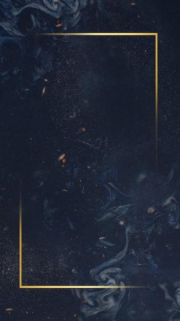 青い背景にゴールデンフレーム 無料写真