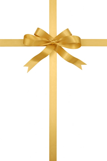 Golden gift ribbon and bow Free Photo