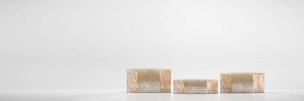 광고 제품 디스플레이 배경 3d 렌더링을위한 황금 육각형 무대 연단 플랫폼 프리미엄 사진