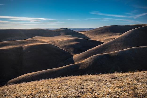 Золотые холмы, небольшие горы с деревьями осенью на фоне голубого неба Premium Фотографии