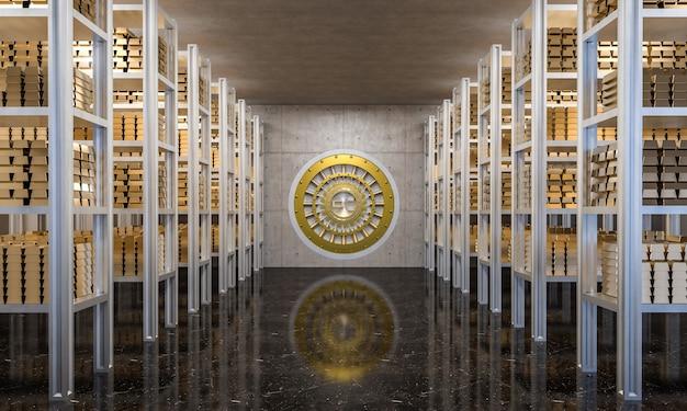 Золотой слиток в банковском хранилище Premium Фотографии