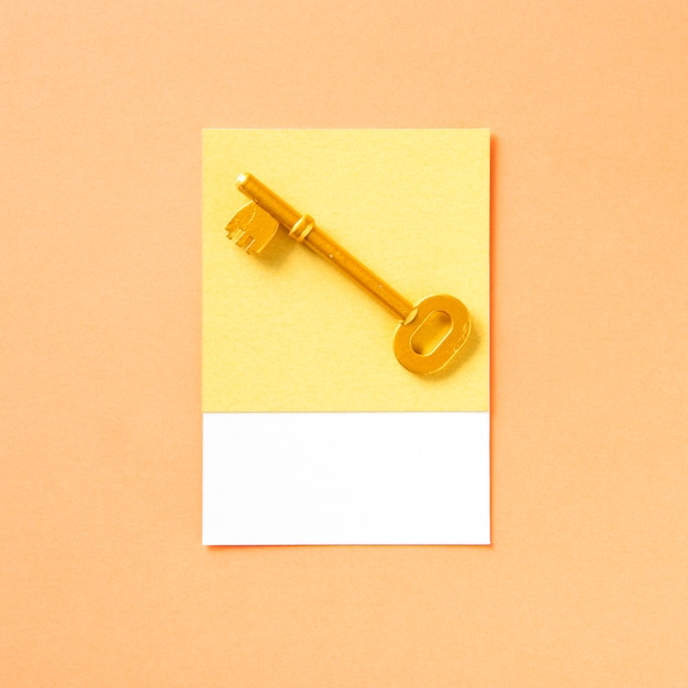 Golden key object as access icon Free Photo