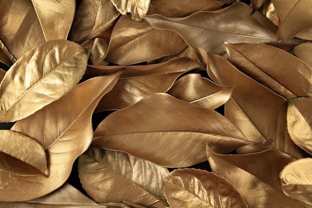 Golden leaves background Premium Photo