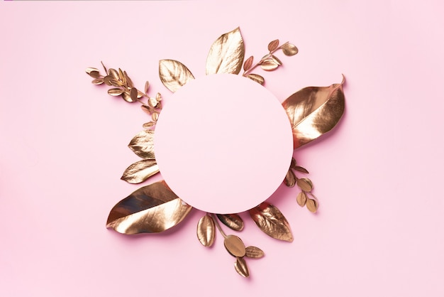 Golden leaves frame with copy space. top view. copy space. summer and autumn concept. creative Premium Photo