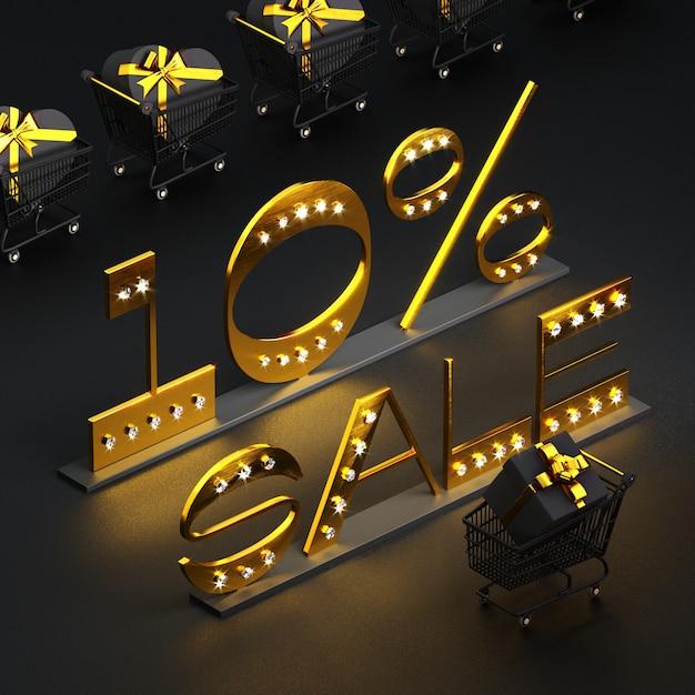 Золотая надпись 10% продажа с бриллиантами, тележками и подарочными коробками на черном Premium Фотографии