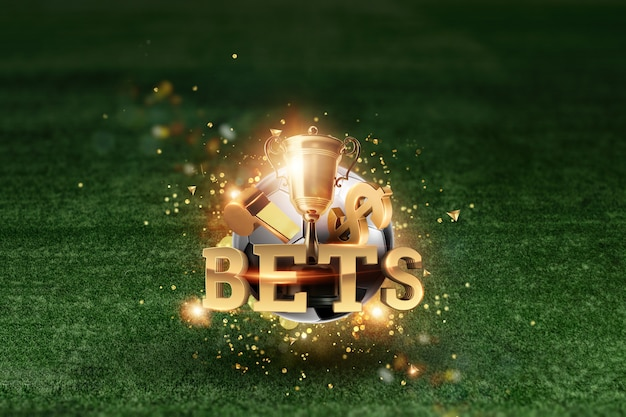 Golden lettering bets with soccer ball and green lawn background. Premium Photo