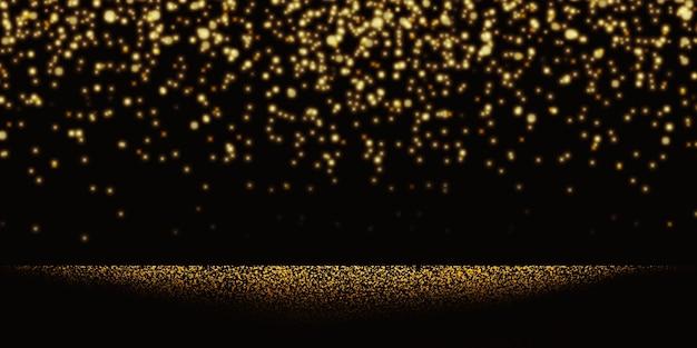 Golden light spots falling on glitter background shiny gold bokeh party golden glowing confetti on black background 3d illustration Premium Photo