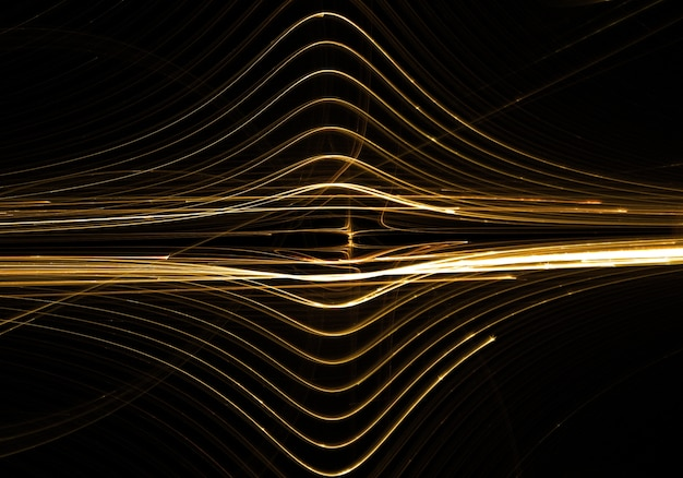 Golden lines waves abstract background Free Photo