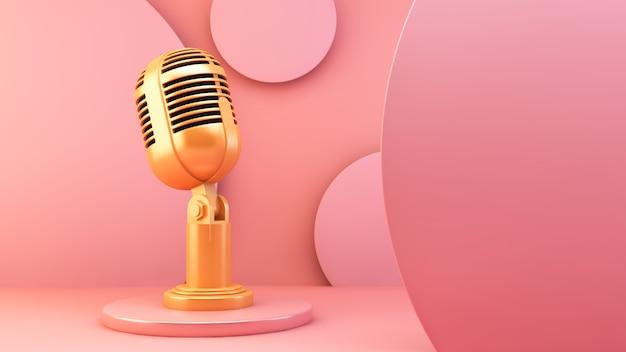 ピンクの背景の金色のマイク Premium写真