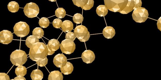 黄金の多次元キューブ接続六角形のネットワーク幾何学的オブジェクト Premium写真
