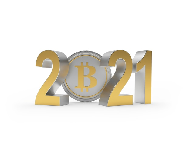 Golden numbers 2021 with bitcoin coin Premium Photo