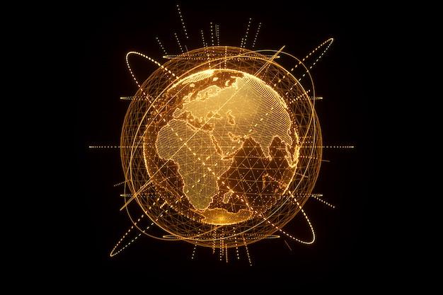 Золотая, оранжевая голограмма планеты земля из изолированных точек на черной стене. глобализация, сеть, быстрый интернет. копирование пространства, 3d-рендеринга 3d иллюстрации. Premium Фотографии