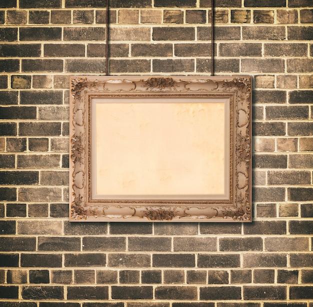Golden picture frame baroque style. Premium Photo