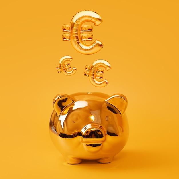 Золотая копилка на желтом фоне с золотыми шарами знака евро. золотой символ валюты из надувного воздушного шара из фольги. инвестиционная и банковская концепция. экономия денег, копилка, финансы, инвестиции Premium Фотографии