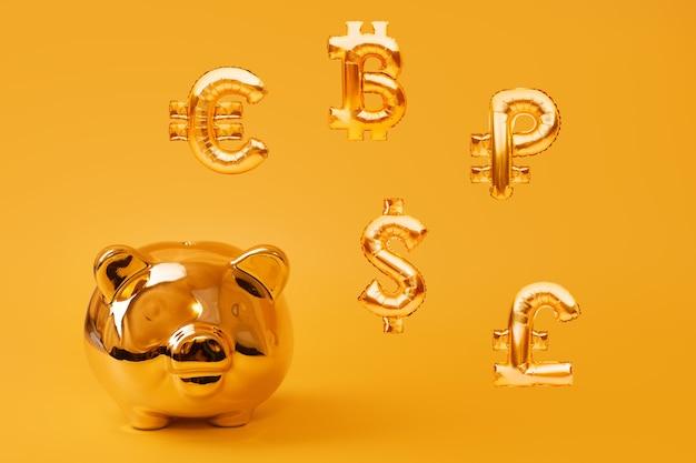 Золотая копилка на желтом фоне с золотыми символами валюты из надувных воздушных шаров из фольги. инвестиционная и банковская концепция. экономия денег, копилка, финансы, инвестиции. Premium Фотографии