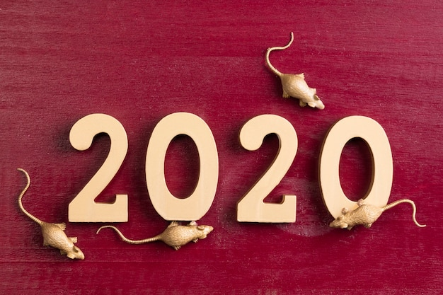 Golden rat figurines for chinese new year Free Photo