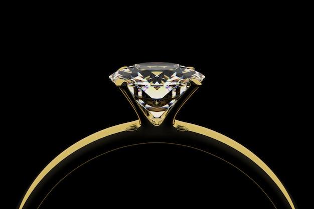 Golden ring with diamond Premium Photo