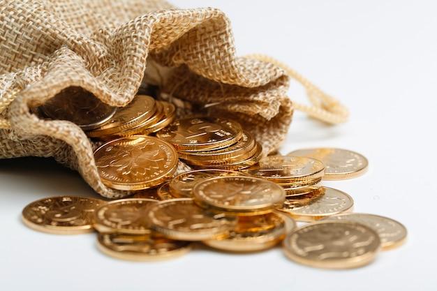 천 가방에 황금 인민폐 동전 무료 사진