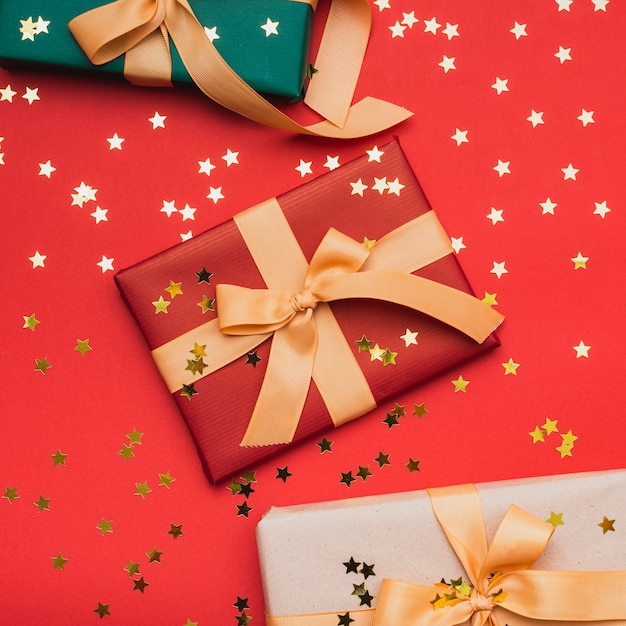 Golden Stars On Presents For Christmas Free Photo