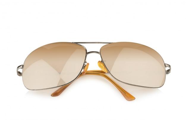 Golden sunglasses isolated on white background Premium Photo