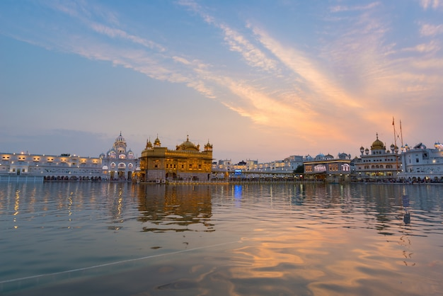 The golden temple at amritsar, punjab, india, the most sacred icon and worship place of sikh religion Premium Photo